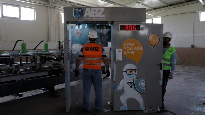 """بوابة """"ABZ"""".. جهاز تركي يعقم الجسم ويقيس حرارته"""