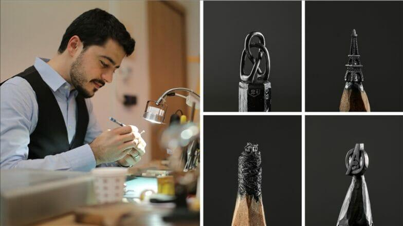 فنان تركي يبدع بالنحت على أقلام الرصاص