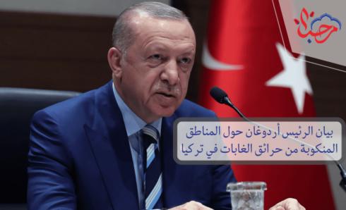 بيان الرئيس أردوغان حول المناطق المنكوبة من حرائق الغابات في تركيا