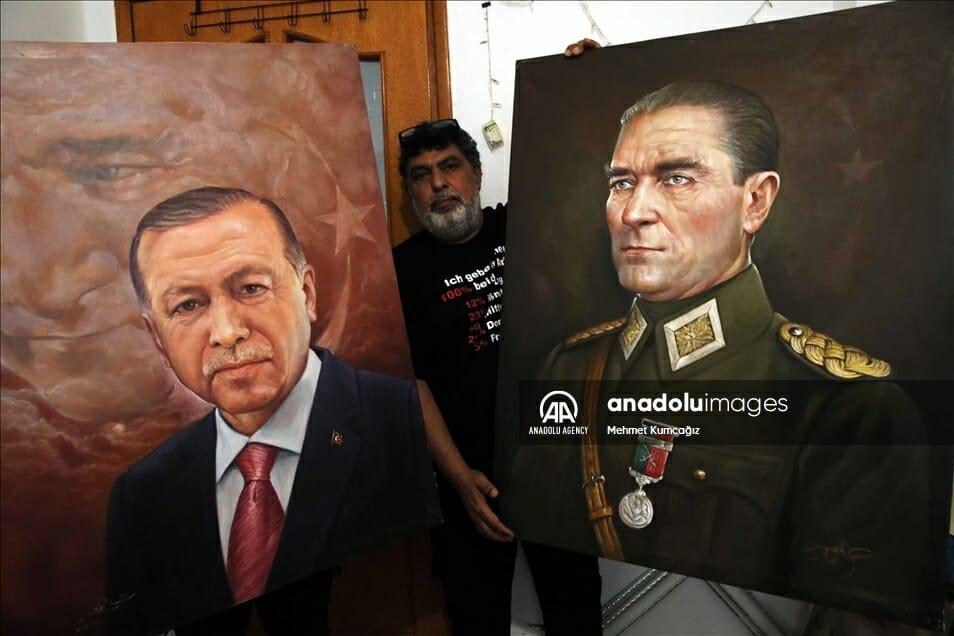 الرحمن محمد يرسم أردوغان وأتاتورك - من قصور صدام إلى تركيا.. فنان عراقي يبدع في رسم أردوغان