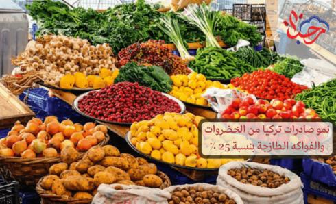 نمو صادرات الخضروات والفواكه الطازجة التركية 25 ٪