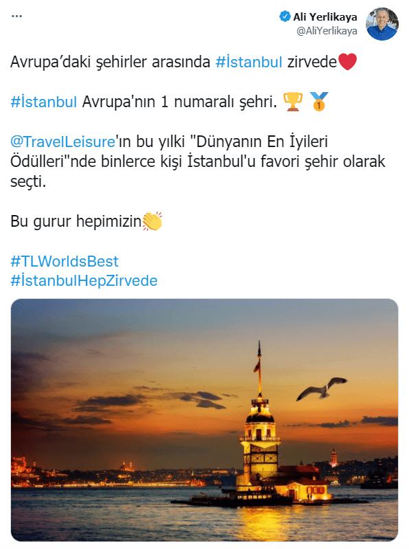 تغريدة والي اسطنبول أفضل مدينة أوروبية 2021